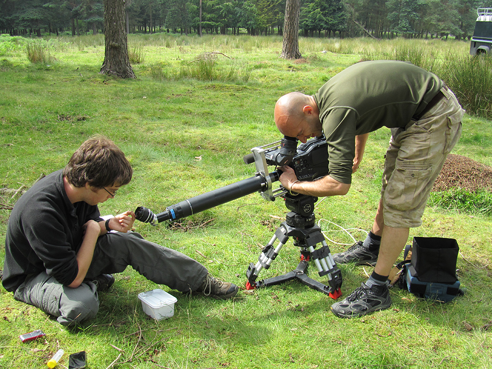 Cameraman filming ants with specialist lens